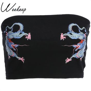 Weekeep Sexy Slim Waist Tube Tops Women Black Chinese Style Dragon Print Fashion Summer Top 2018 Cropped Strapless Wrap Top Top