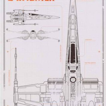 Star Wars X-Wing Fighter Schematic Poster 24x36