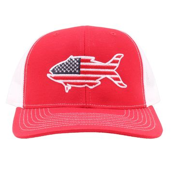 American Flag Snapper Hat in Red and White by Southern Snap Co.