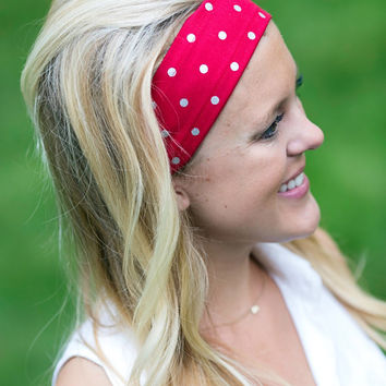 Cotton Fashion Headband. Classic Red with Silver Metallic Polka Dot