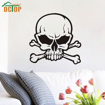 Big Skull Crossbones Grunge wall decals vinyl stickers home deccor nursery wall decal kids wall paper