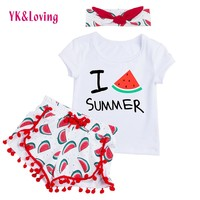 2018 Spring Baby Girl Clothes Sets Summer Outfits Hairand 3Pcs Short Sleeve Swing Top Shorts Clothing Set for Children 1-4T
