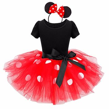 Minnie Mouse kids dress princess costume party children clothing Cosplay Girls Minnie Dress+Headband Baby