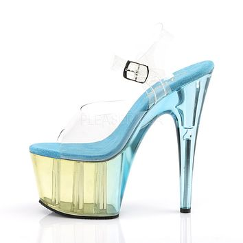 "Adore 708MCT Clear Blue Tint Ankle Strap Upper & Platform 7"" High Heel Shoes"