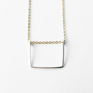 Sterling & Gold Rectangle Geometric Necklace