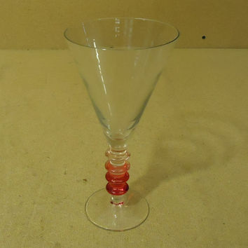 Designer Short Stem Water Drinking Glass 9in H x 4 1/2in Diameter Red/Clear -- Used