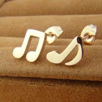 Titanium Steel Music Note Studs