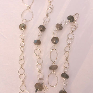 Sterling chain, link, beaded chain, sterling Labradorite necklace, sterling pendant chain, handmade sterling silver necklace, beaded chain