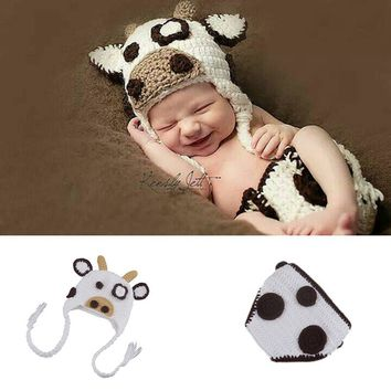 White Milk Cow Infant Baby Girls Hat Diaper Set Photography Props Knitted Newborn Coming Home Outfits Cute Baby Animal Costume