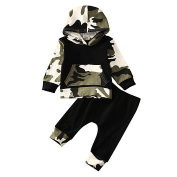 2pcs Autumn Spring Infant Clothes Baby Clothing Sets Baby Boys Camouflage Camo Hoodie Tops Long Pants 2Pcs Outfits Set Clothes
