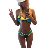 2015 Women Bathing Suit Maillot Sexy Swimsuit Push Up Color Blocking