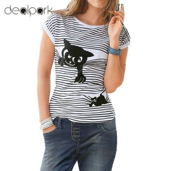 Cute t shirt women Stripes Cat Animal Print Short Batwing Sleeve Round Neck Loose Casual Tops White/Black