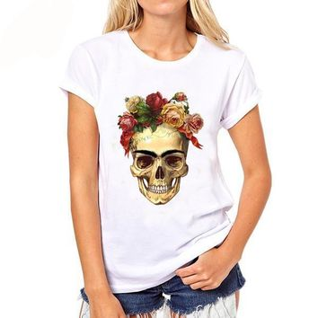 Mexican Floral Skull t shirt short Sleeve O-neck womens tops