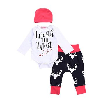 """Worth the Wait"" 3PCS Infant Baby Onesy, pants and hat Outfit Set"