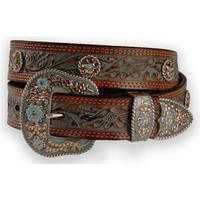 Nocona Concho Accent Painted Leather Western Belt - Sheplers