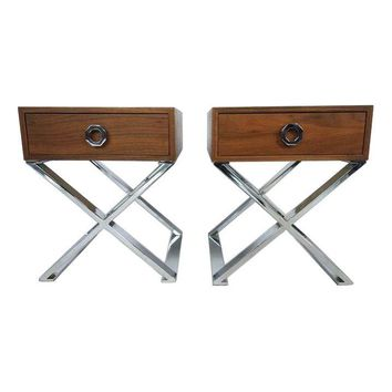 Pre-owned Milo Baughman Inspired Side Tables
