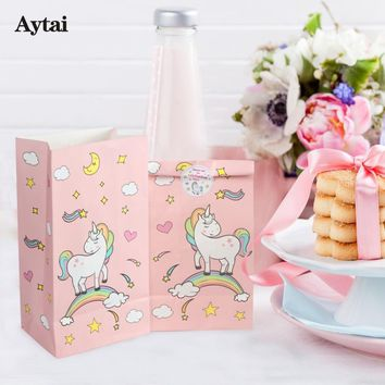 Aytai 12pcs Unicorn Party Pink Paper Bag With Sticker Gift for Kids Candy Bags Baby Shower Birthday Unicorn Theme Party Favor