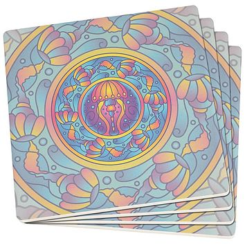 Mandala Trippy Stained Glass Jellyfish Set of 4 Square Sandstone Art Coasters