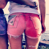 Ombre Studded Distressed Shorts