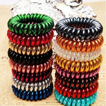New 2015 girls women hair accessories gum for hair ring high quality Elastic Hair bands rope candy-colored telephone line
