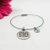 Mother In Law Bracelet - Mother Of The Groom Charm Bangle - Initial Charm - Initial Bracelet - Personalize Gift - Custom Bracelet