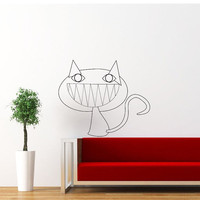 Black Cat Wall Decal Halloween Smile Cat Wall Decals Vinyl Sticker Interior Home Decor Vinyl Art Wall Decor Bedroom SV5846