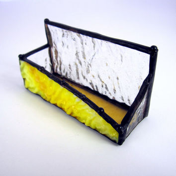 Rippled Sunny Handmade Stained Glass Business Card Holder