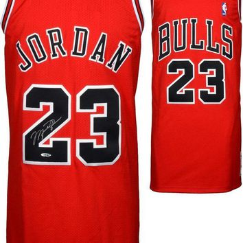 LMFONY Michael Jordan Signed Autographed Chicago Bulls Basketball Jersey (Upper Deck Authenticated)