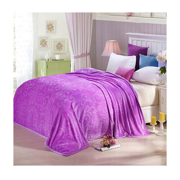 Clipped Pattern Blanket Bedding Throw Fleece Super Soft Warm Value purple
