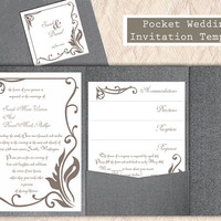 Pocket Wedding Invitation Template Set DIY EDITABLE Word File Download Gray Wedding Invitation Coffee Invitation Printable Invitation