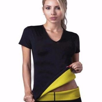 T shirt Super hot shapers control panties shorts women stretch neoprene shirt sweat slimming body shaper