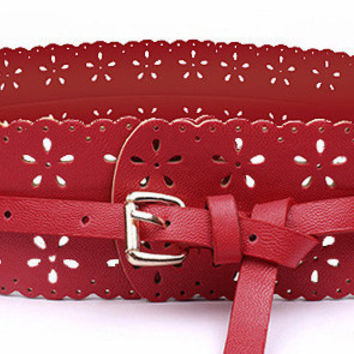 Design Retro Style Hollow Flower Wide Belt