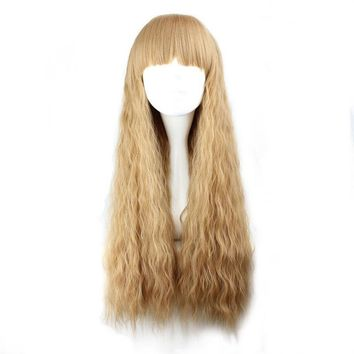 Long Curly Light Brown Synthetic Cosplay Wig 100% High Temperature Fiber Hair