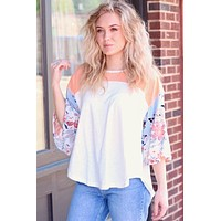Floral Sleeves Colorblock Contrast Top - Size MEDIUM
