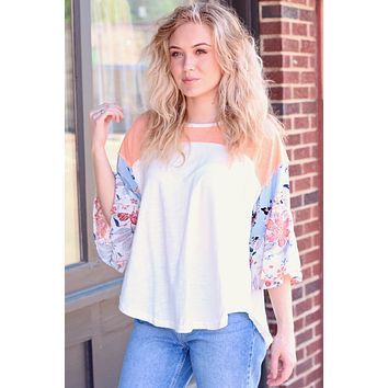 Floral Sleeves Colorblock Contrast Top