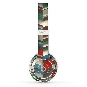 The Choppy 3d Red & Green Zigzag Pattern Skin Set for the Beats by Dre Solo 2 Wireless Headphones
