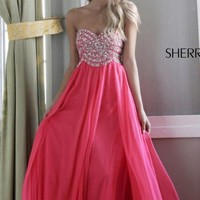 Strapless Embellished Gown by Sherri Hill