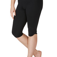 Plus Size - Fabric Capri With Cinched Bottom - Black