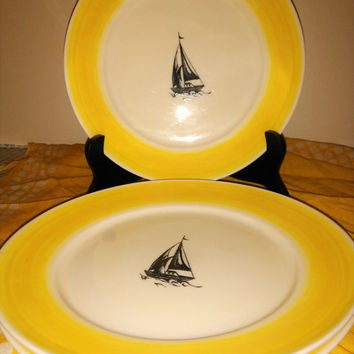 Lot of Vintage Ralph Lauren Maritime Stripe Dinner Plates Yellow Ralph Lauren Maritime  Plates Sailboat Plates Beach House Boat House Plates