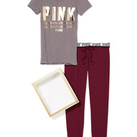Crew Tee & Gym Pant Set - PINK - Victoria's Secret