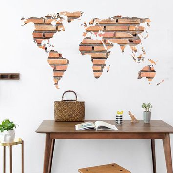 new 3d wall decor the brick world map wall sticker for children room living room home decorations pvc decal mural art kids room