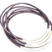 Bracelets-Bangles, Metallic Berry Leather with Gold or Silver Tube Accents- By LEATHER WRAPS