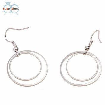SUSENSTONE Minimalist Personality Geometry Double Circle Earrings Earrings