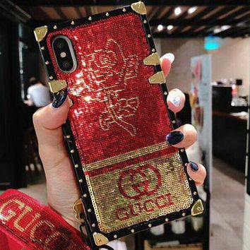 Givenchy x GUCCI x YSL x Hello kitty x Supreme x LV x FENDI x Mickey Mouse glitter scale iphonex phone case F0778-1 GUCCI