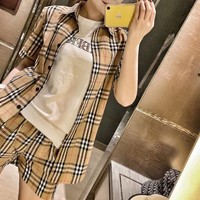"""Burberry"" Woman Blouse Tartan Simple Stripe Letter Muticolor Casual Fashion Short Sleeve Trousers Two-Piece Set Clothes"