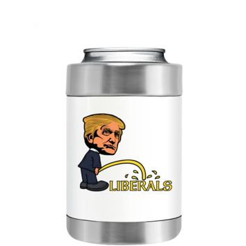 Big Head Trump on Liberals on White Can and Bottle Cooler