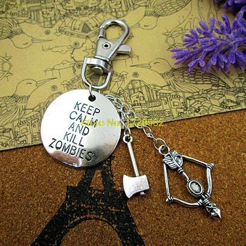 High quality Keyring Keychain,mobile phone charm antique Silver keep calm and kill zombies with axe ,bow and arrow