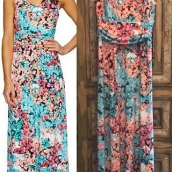 Hydrangea Floral V Back Maxi Sun Dress Sz 10