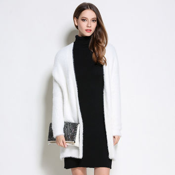 Loose Solid Color Velvet Elegant Fashion Knitted Long Cardigans Quality Brand Imitated Mink Wool Wom