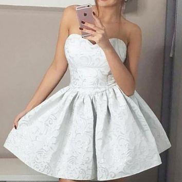 White Strapless Floral Homecoming Dresses,Pleated Short Homecoming Dresses